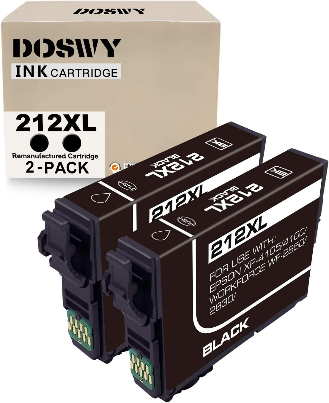 Doswy 2 Pack 212XL Remanufacture Ink Cartridge Replacement for Epson 212XL 212 T212XL High Yeild for Workforce WF-2830 WF-2850 Expression Home XP-4100 XP-4105 Printer (2 Black)