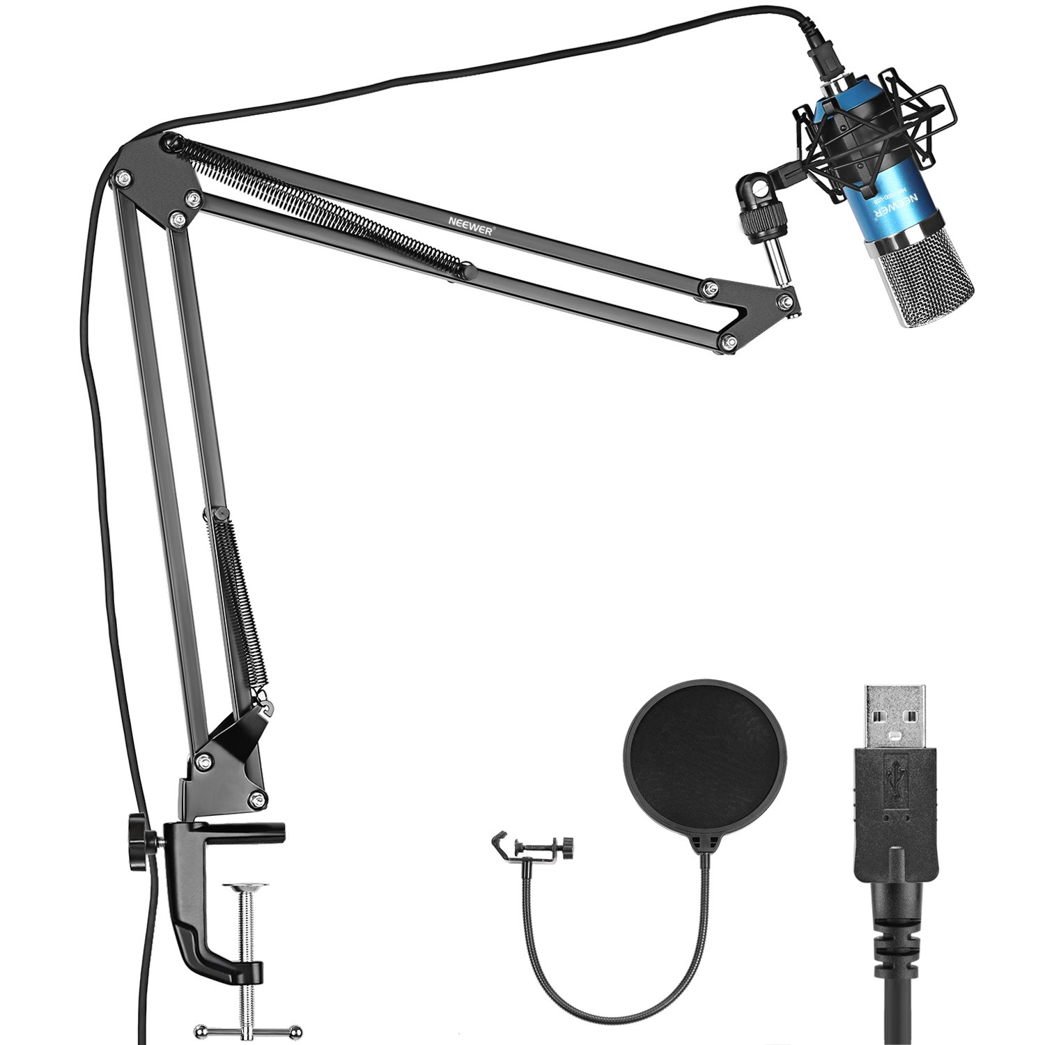 Neewer NW-7000 Professional Studio Condenser Microphone and Adjustable Suspension Scissor Arm Stand with Shock Mount, USB Cable and Table Mounting Clamp Kit for Broadcasting and Sound Recording (Blue) 40089659