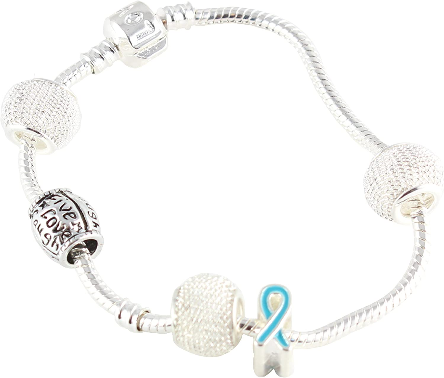 Amazon Com Awareness Products Warehouse Ovarian Cancer Live Love Laugh Charm Bracelet Buy 1 Give 1 Jewelry