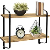 Greenco 2 Tier Rustic Wall Mounted Floating Shelf with Metal Brackets for Living, Dining Room, Office, Bedrooms, Brown