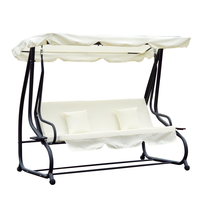 Outsunny Hollywoodschaukel Gartenschaukel 3-Sitzer Liegefunktion Stahl Creme 200x120x164cm