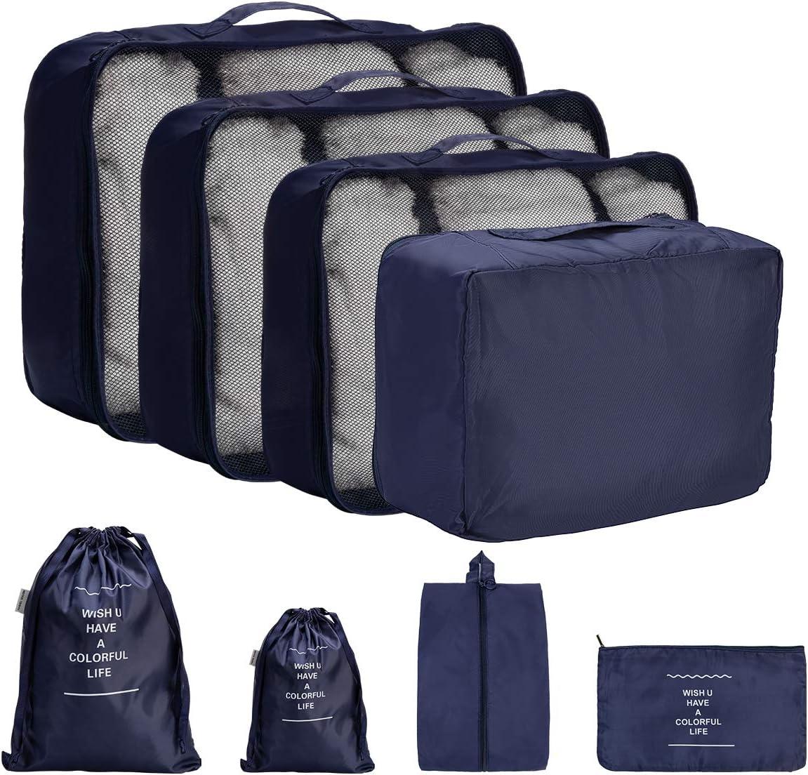 DoGeek Organizador de Equipaje 8 en 1 Set Viaje con Bolsa de Zapato, Impermeable Organizador de Maleta Bolsa para Ropa Sucia de Viaje, Material Nylon (Azul Oscuro)