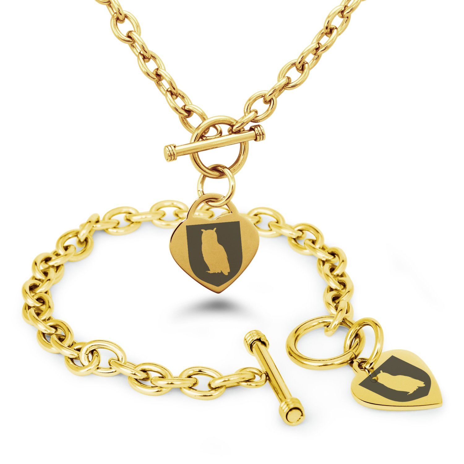 Tioneer Gold Plated Stainless Steel Owl Wisdom Coat of Arms Shield Symbols Heart Charm, Bracelet & Necklace Set