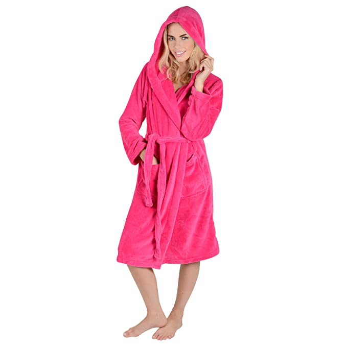 a4ce583104 Ladies Coral Fleece Super Soft Thick Luxurious Bath Robe With Hood Dressing  Gown Wrap Housecoat Bathrobe  Amazon.co.uk  Clothing