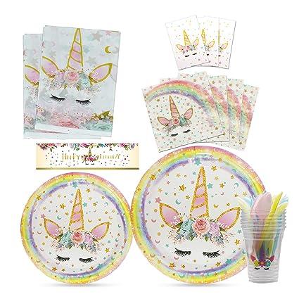 WERNNSAI Kit de Suministros para Fiesta de Unicornio - Favores de la Fiesta de Cumpleaños paraNiños Baby Shower Boda Vajilla Fiesta Mantel Cubiertos ...