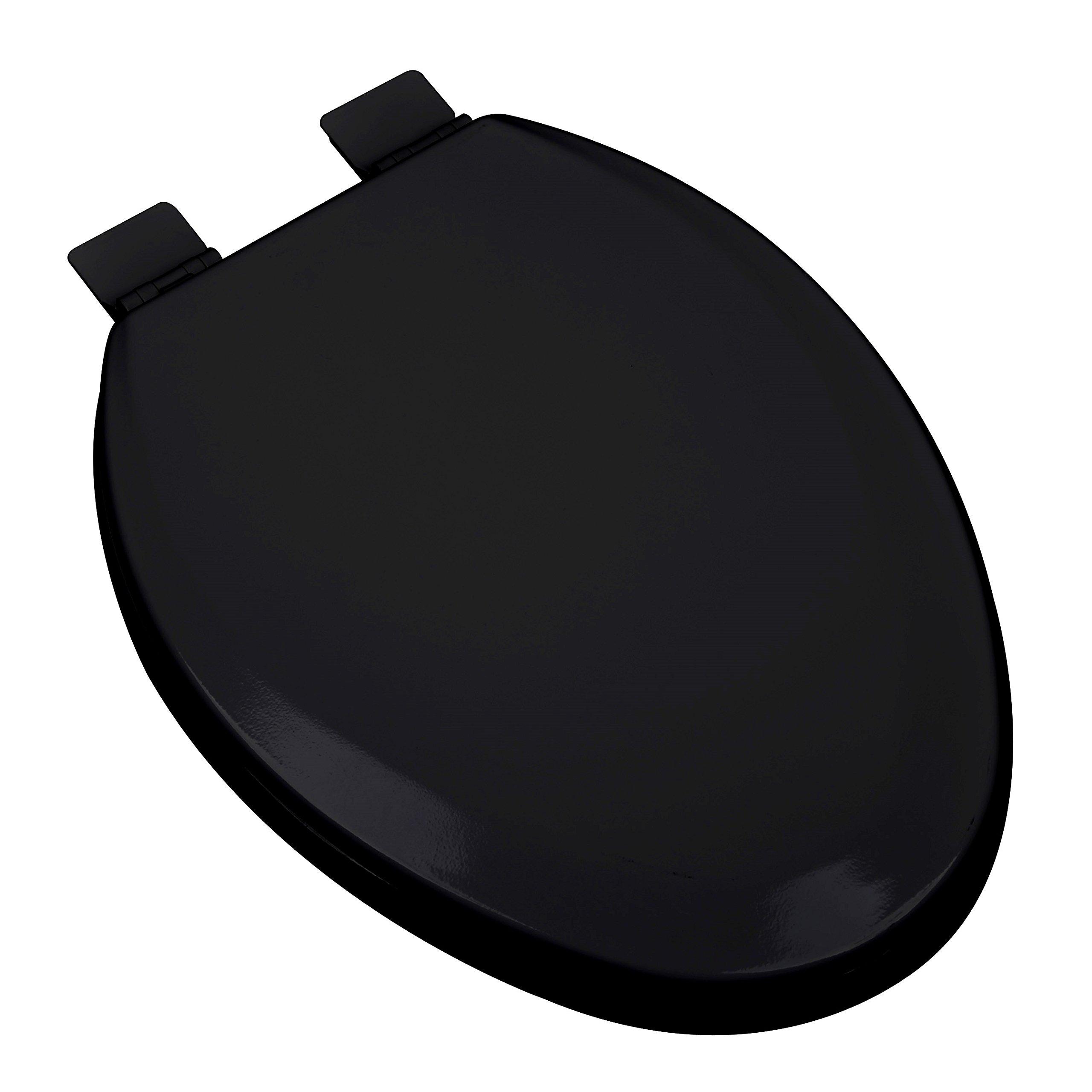 Bath Décor 1F1E5-90 Premium Molded Wood Elongated Toilet Seat with Adjustable Hinge & OSG, Black