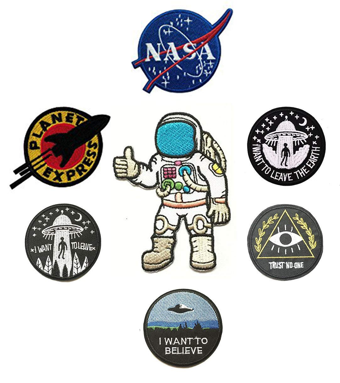 7 Pieces Space Theme Patch Set NASA/I Want to Leave The Earth/Trust No One/I Want to Believe/I Want to Leave/Planet Express/Astronaut Embroidered Applique Morale Patch by Antrix