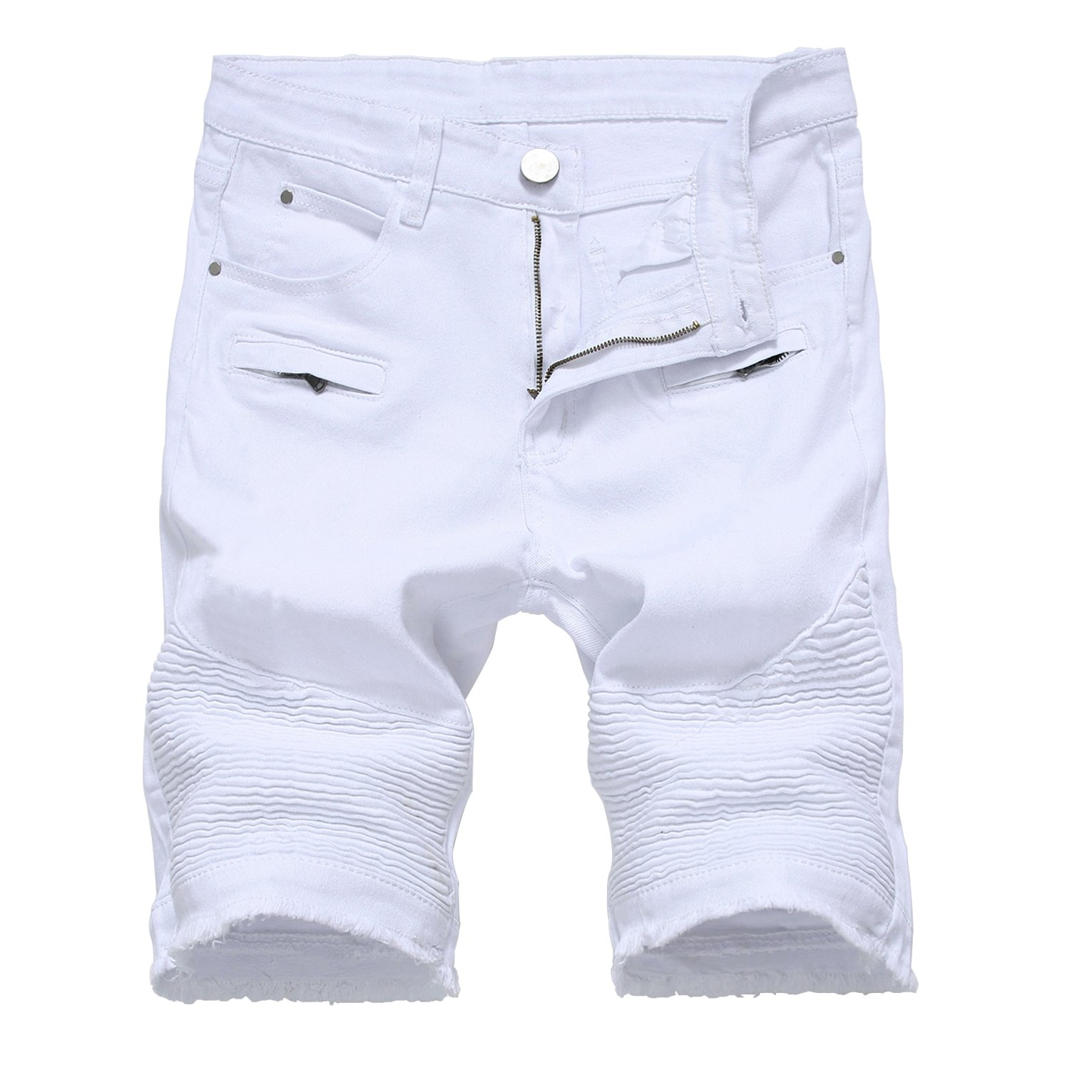 HULANG Mens Casual Ripped Distressed Jeans Denim Shorts with Broken Hole (White1, 36)
