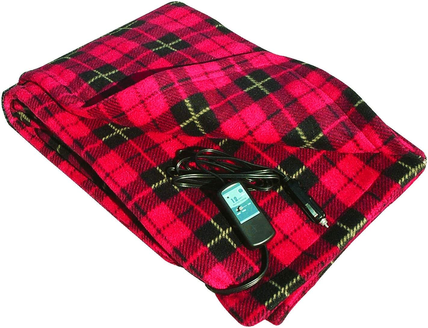 "Car Cozy 2 - 12-Volt Heated Travel Blanket (Red Plaid, 58"" x 42"") with Patented Safety Timer by Trillium Worldwide"