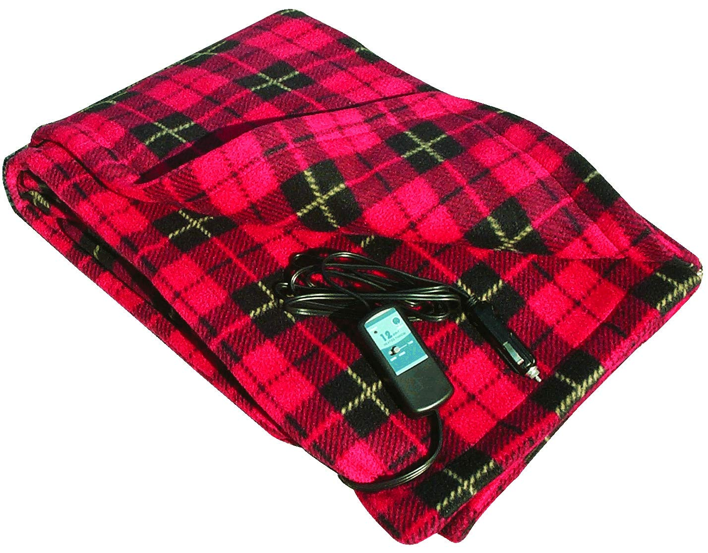 Car Cozy 2 - 12-Volt Heated Travel Blanket (Red Plaid, 58