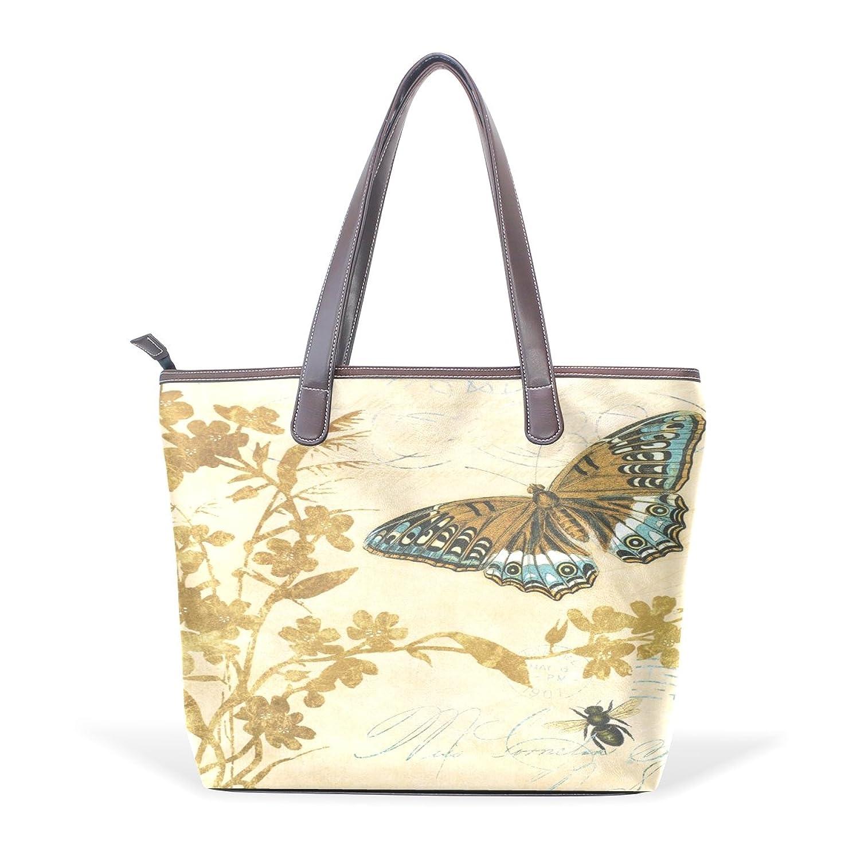 Womens Leather Tote Bag,Vintage Floral Butterfly,Large Handbag