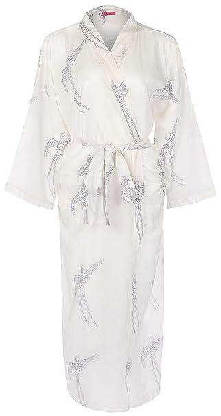 Traje de algodón ligero - Blanca con Ave Gris de Cola Larga - algodón orgánico súper-fino: Amazon.es: Ropa y accesorios