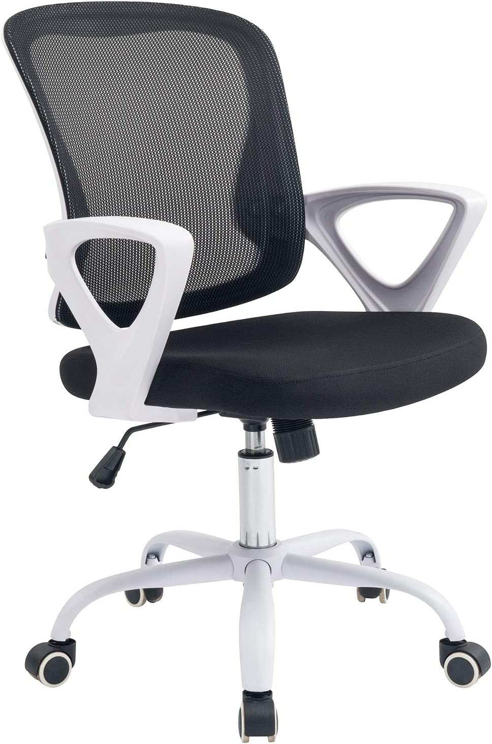 Office Chair Ergonomic Desk Chair Adjustable Modern Mid Back Swivel Chair for Small Place, White (White)