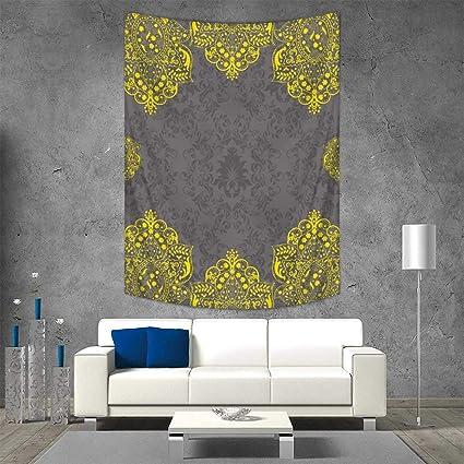 Amazon.com: Anhuthree Grey Yellow Wall Tapestry Traditional ...