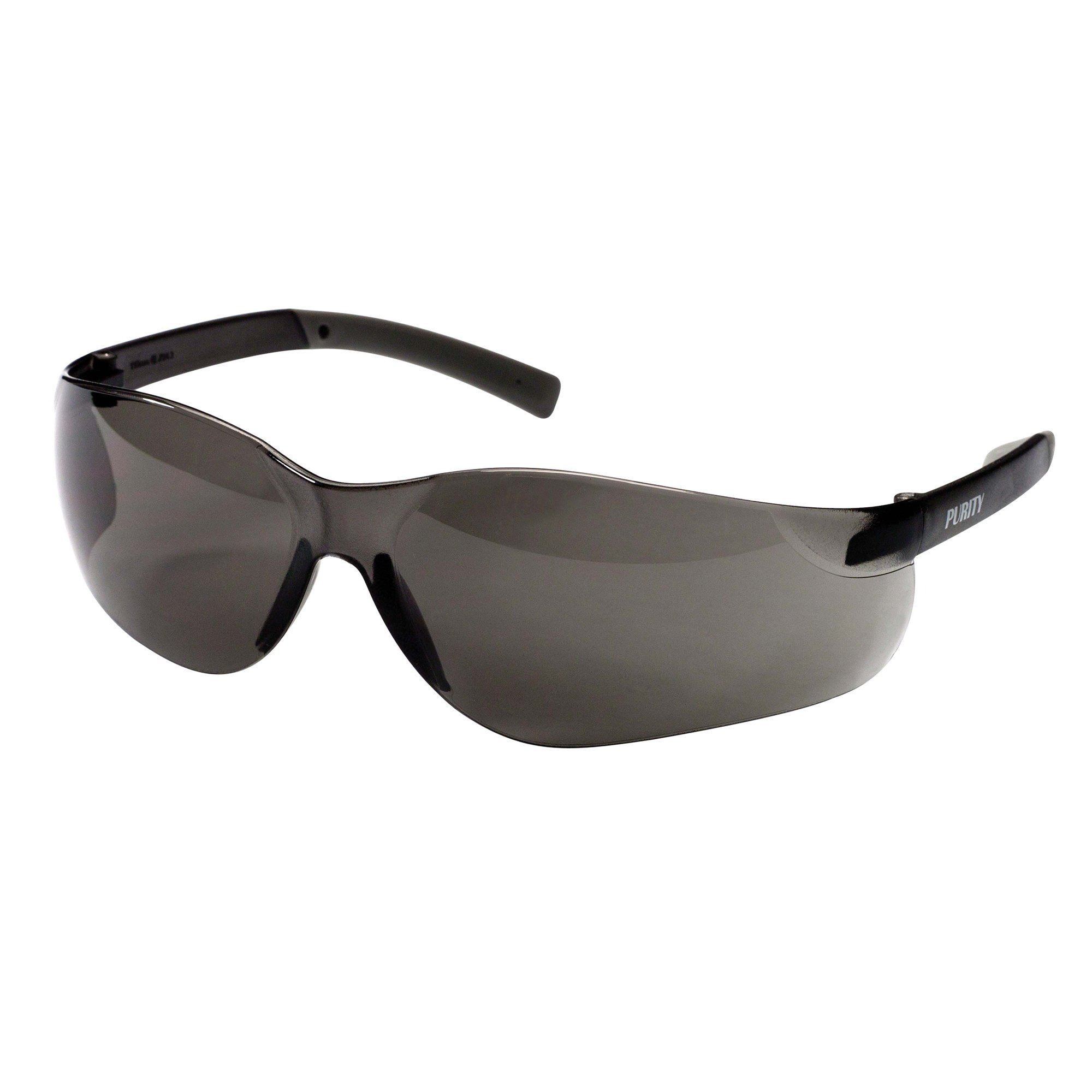 Jackson Safety V20 Purity Safety Glasses (25652), UV Protection, Hardcoated Smoke Lenses with Black Temples, 12 Pairs/Case