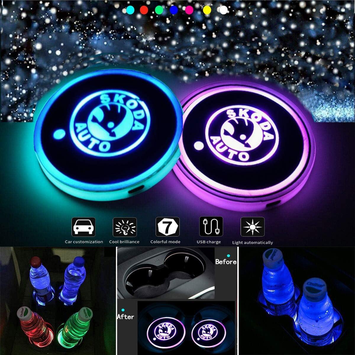 J.MOSUYA Wasserdicht Getr/änkehalter Auto LED Untersetzer 7 Farben USB Lade Becherhalter Lumineszenz Getr/änke Halter LED innenbeleuchtung Auto Atmosph/äre Lampe Licht,K