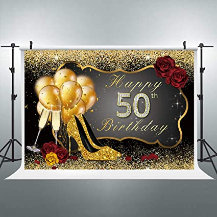 Riyidecor 50th Birthday Backdrop Black Gold Woman Balloons Champagne Photo Photography Background 7X5ft Shining Sequin Rose