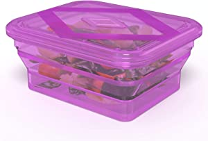 Bakerpan Silicone Collapsible Rectangle Steamer Pot, Kids Lunch Box, Spill Proof Food Storage Container - 32 Fl Ounce (Transparent Purple)