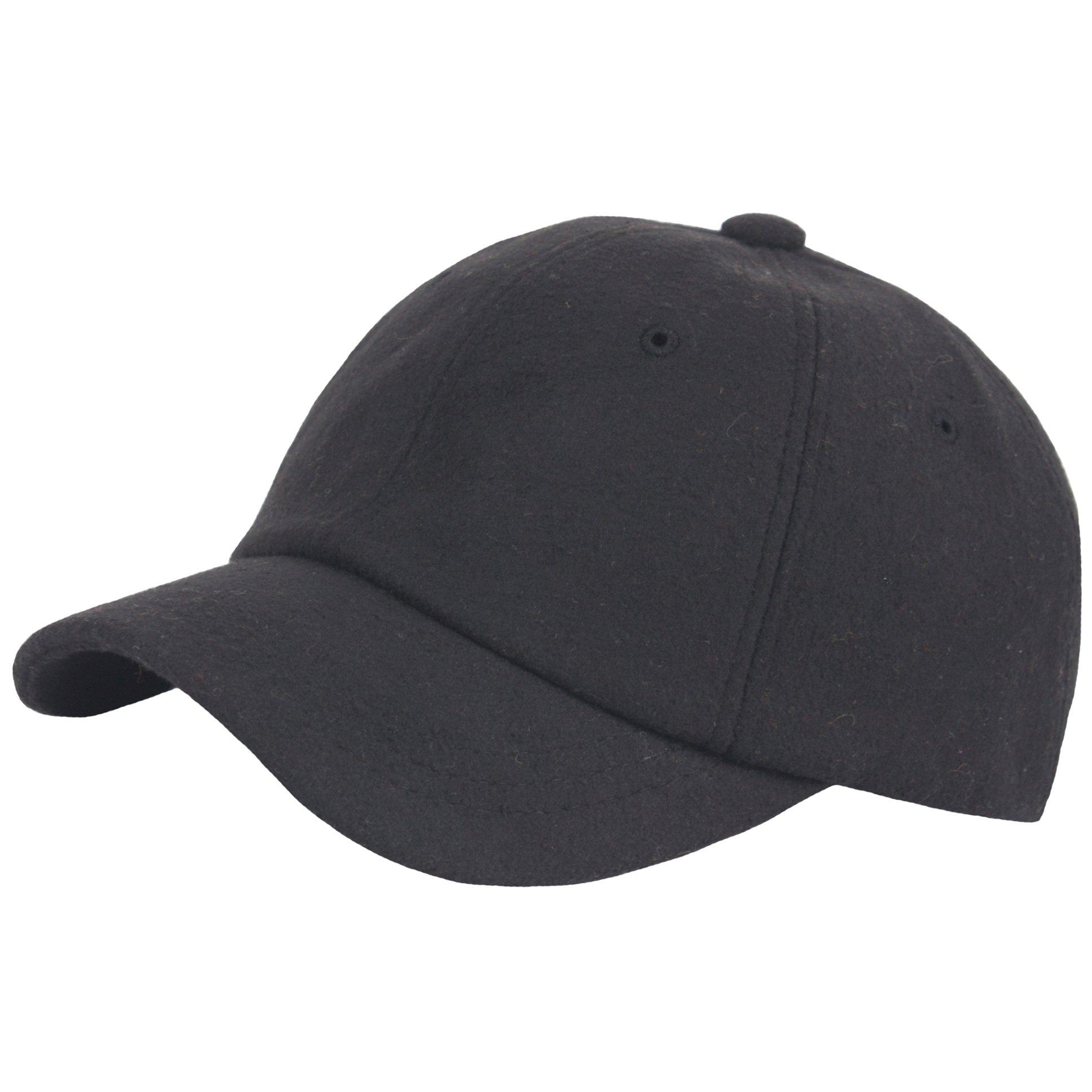 RaOn B384 Ball Cap Plain Winter Wool Cute Short Bill Design Baseball Hat Truckers (Black)