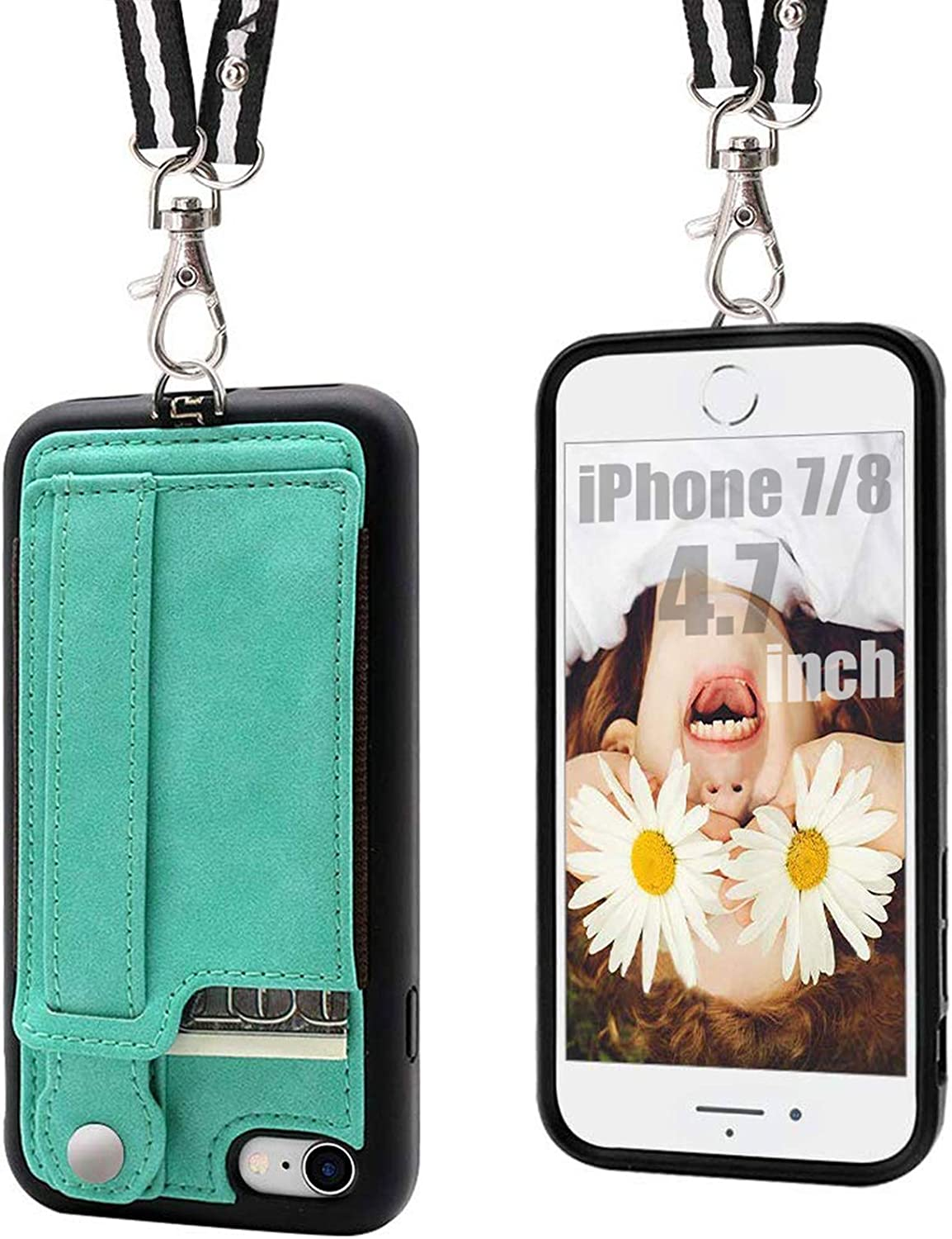 2ndSpring Crossbody Case Compatible with iPhone 5S 5 iPhone SE 2016,Clear TPU Shell with Neck Cord Lanyard Strap,Blue rainbow