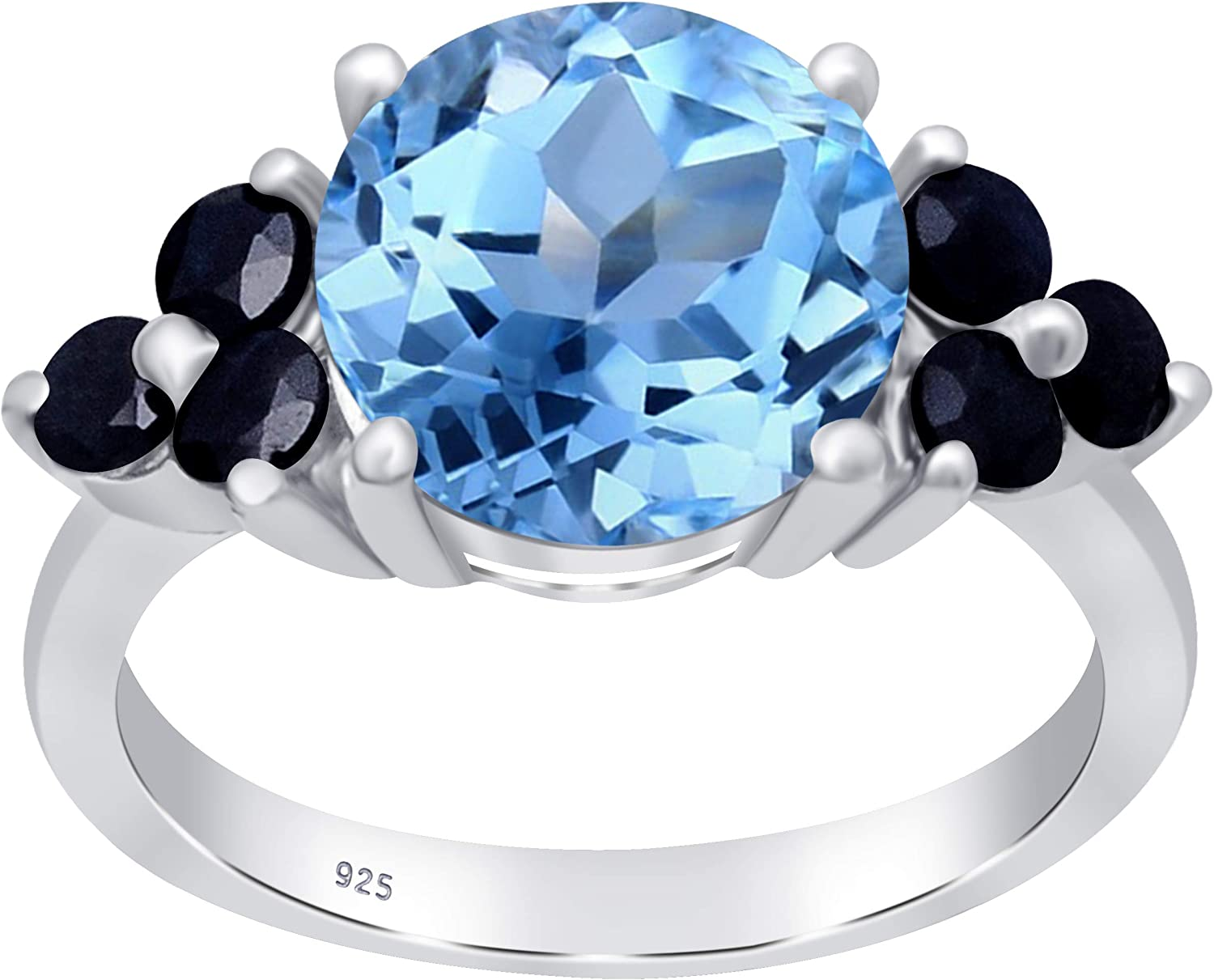 Orchid Jewelry 5.40 Ct Natural Round Blue Topaz and Sapphire 925 Sterling Silver Engagement Ring for Women A December Birthstone Gemstone-A Beautiful and Unique Gift for Wife