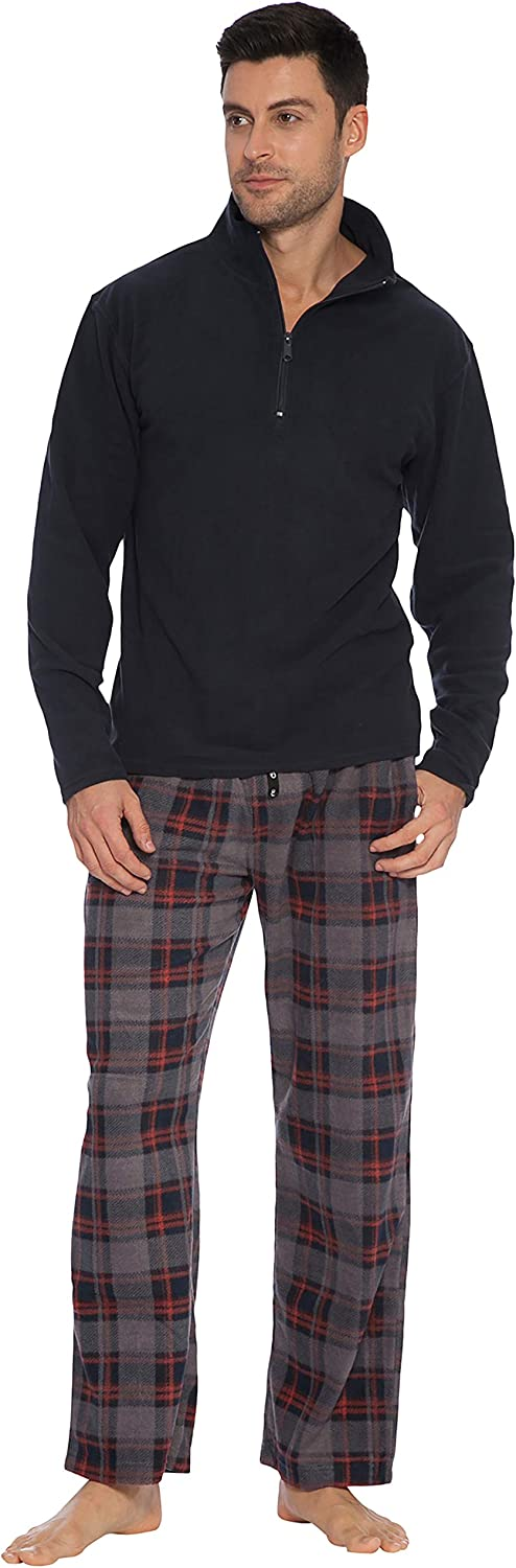 Intimo Men's Long Sleeve Solid Quarter Zip Microfleece Top and Microfleece Plaid Pant
