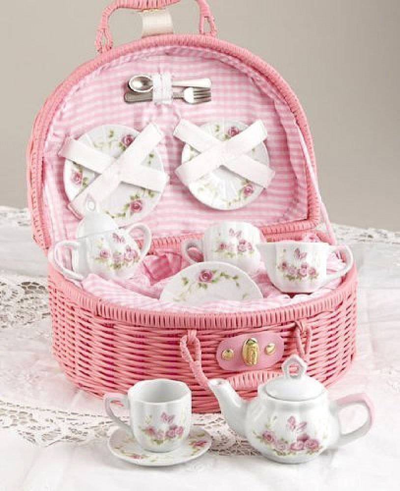 Amazoncom Delton Products Rose Tea Set For 2 Pink Toys Games