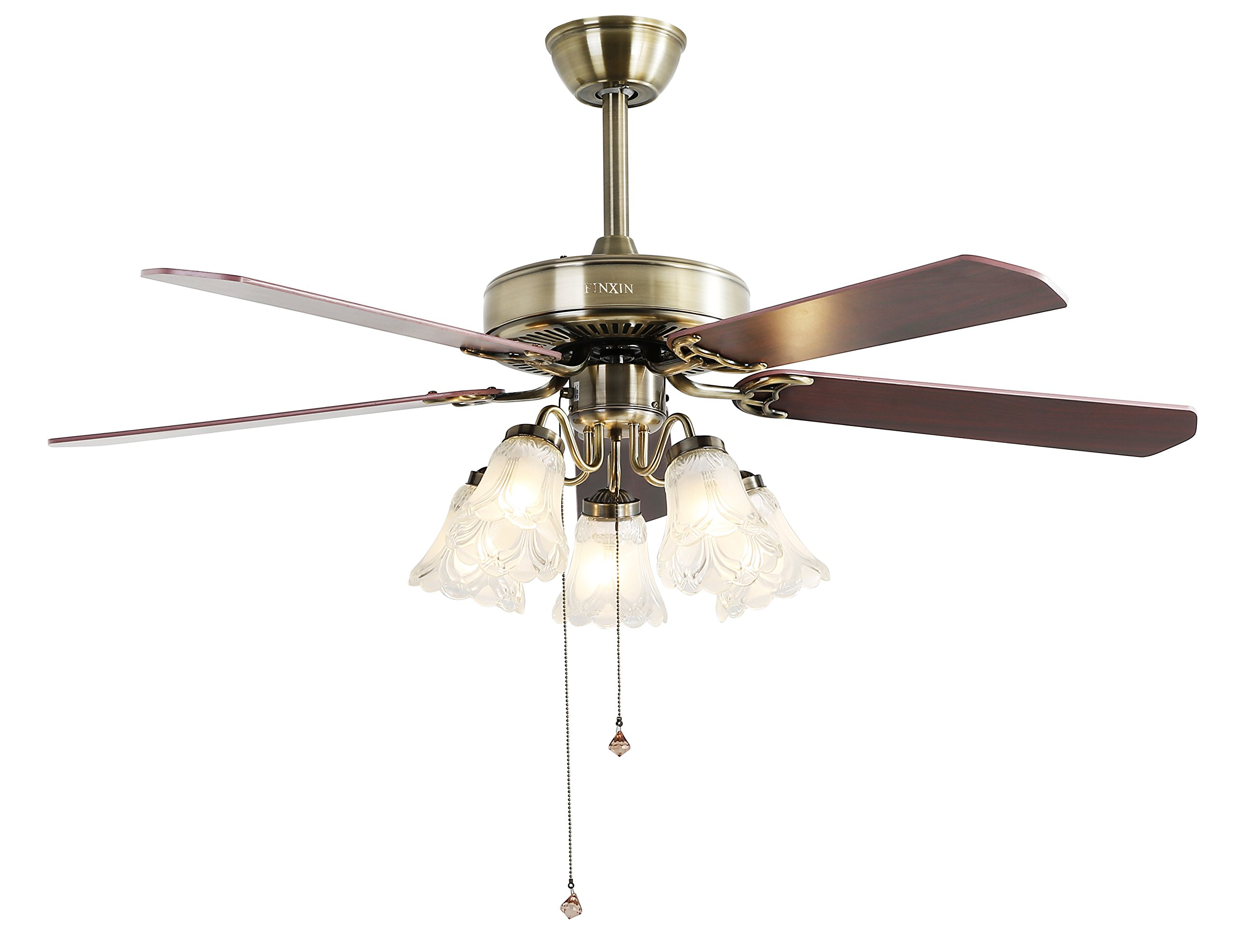 Indoor Ceiling Fan Light Fixtures - FINXIN FXCF02 (New Style) New Bronze 52 Ceiling Fans For Bedroom,Living Room,Dining Room Including 3 Speed Reversible Motor,Light(5-Halogen 200W),5-Blades (Bronze) by FINXIN