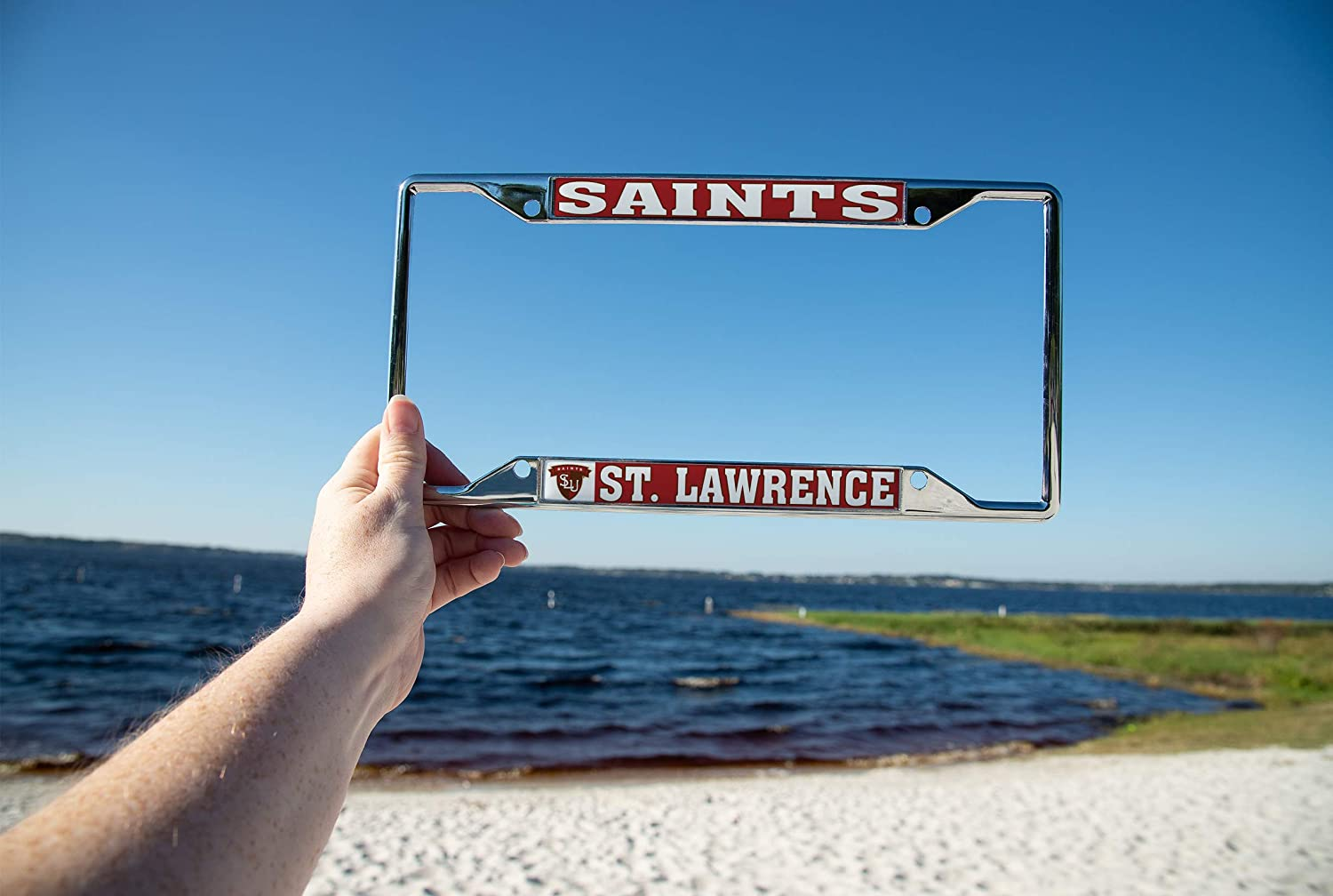 Lawrence University SLU Saints NCAA Metal License Plate Frame for Front Back of Car Officially Licensed Mascot Desert Cactus St