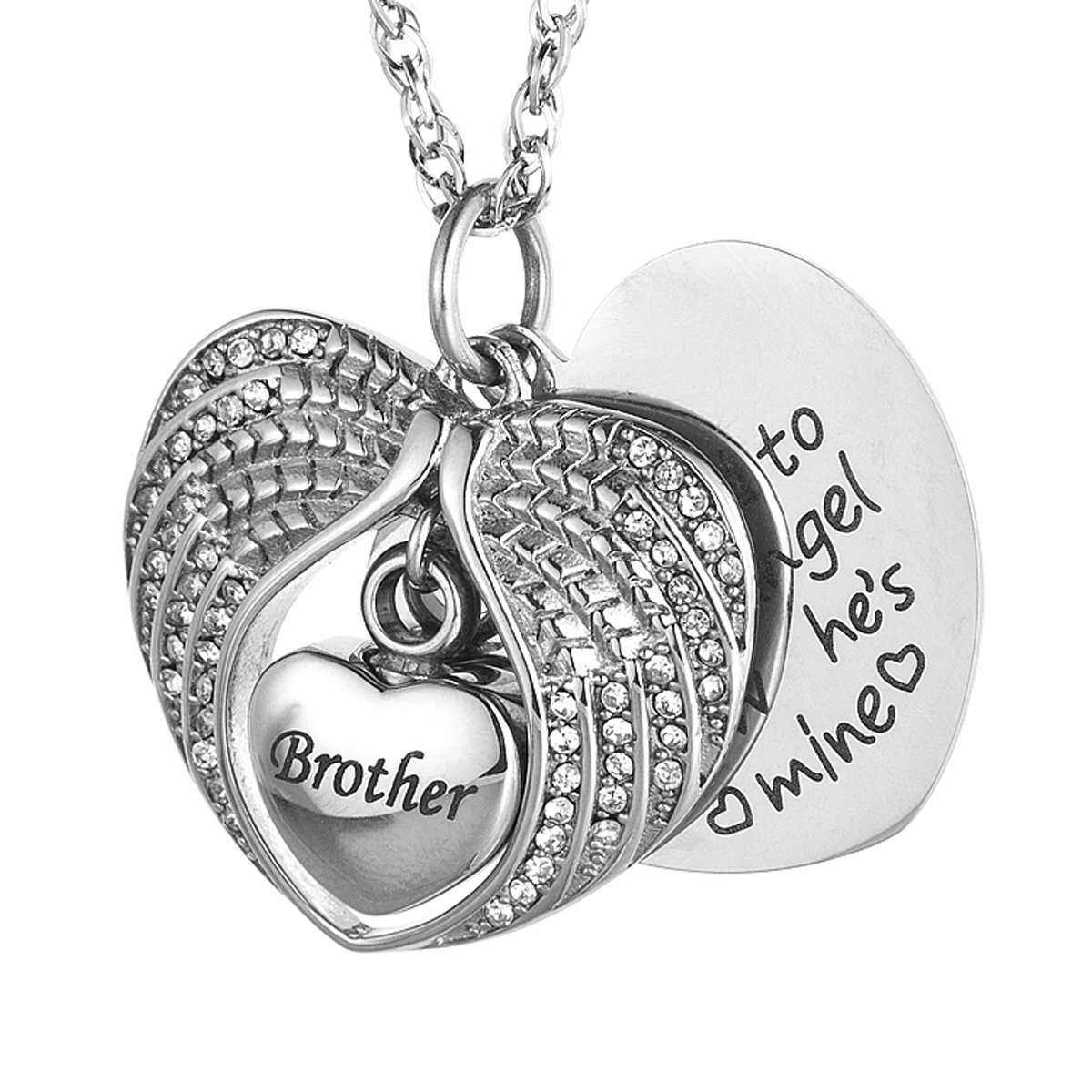 IMEIM Angel Wings Cremation Urn Memorial Necklace for Ashes Stainless Steel Pendant Unique Small Jewelry Special Art Store Memories Spiritual Eternity