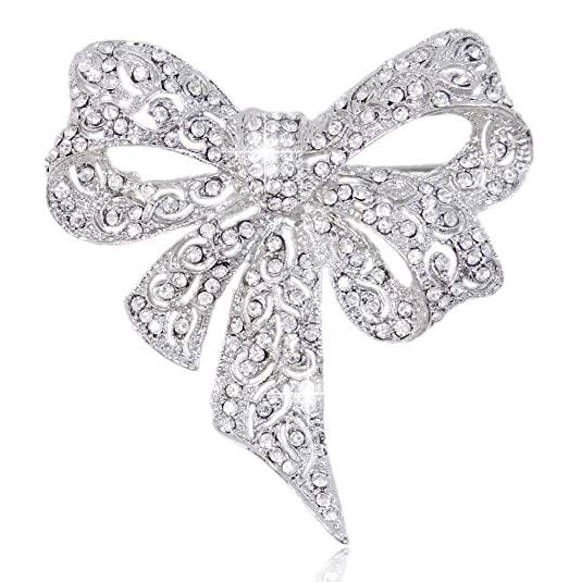 Vintage Style Jewelry, Retro Jewelry EVER FAITH Austrian Crystal Bridal Elegant Floral Ribbon Bowknot Brooch Silver-Tone $12.79 AT vintagedancer.com
