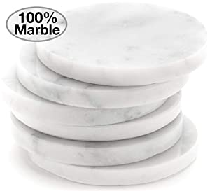 White Carrara Marble Coasters For Drinks, Set of 6   Perfect Housewarming Gifts, Wedding Gift, or For Your Kitchen, Living Room, Coffee Table Decor