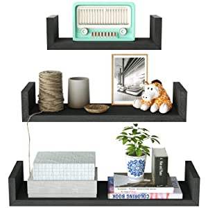 SRIWATANA Floating Shelves Wall Mounted, Solid Wood Wall Shelves, Vintage Black Finish