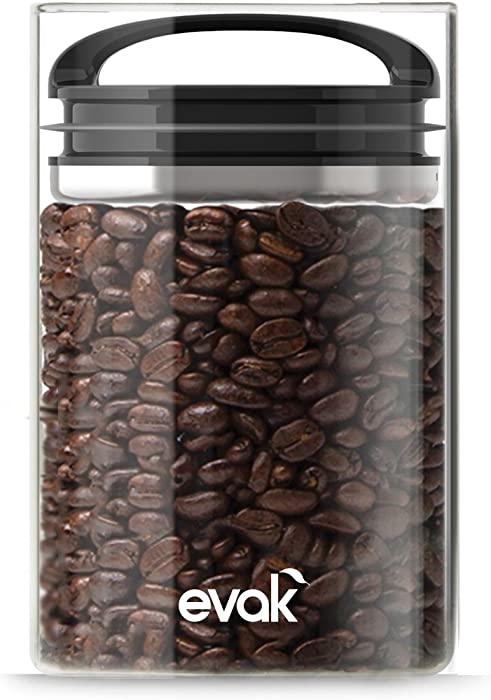 Prepara 3019, Black Gloss handle, Evak Fresh Saver Airless Canister, Glass & Stainless, Small, Medium