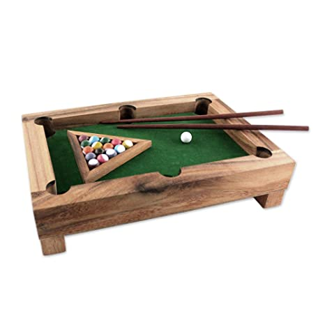 great look outlet store pick up NOVICA Brown Green Multicolor Hand Made Raintree Wood Billiards Game, 'Best  of Billiards'