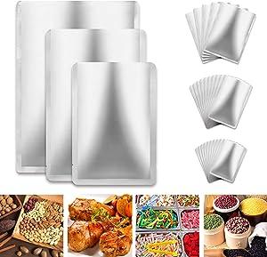 25 Pieces 3 Sizes Mylar Aluminum Foil Bag, Metallic Mylar Foil Flat Heat Sealing Bag Storage Bag Pouch for Food Coffee Tea Beans(6 x 9 Inch, 8 x 12 Inch, 10 x 14 Inch)