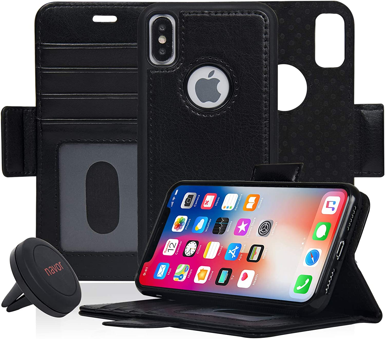 -Mint Vajio Series Navor Detachable Magnetic Wallet Case and Universal Car Mount Compatible for iPhone 8 Plus RFID Protection