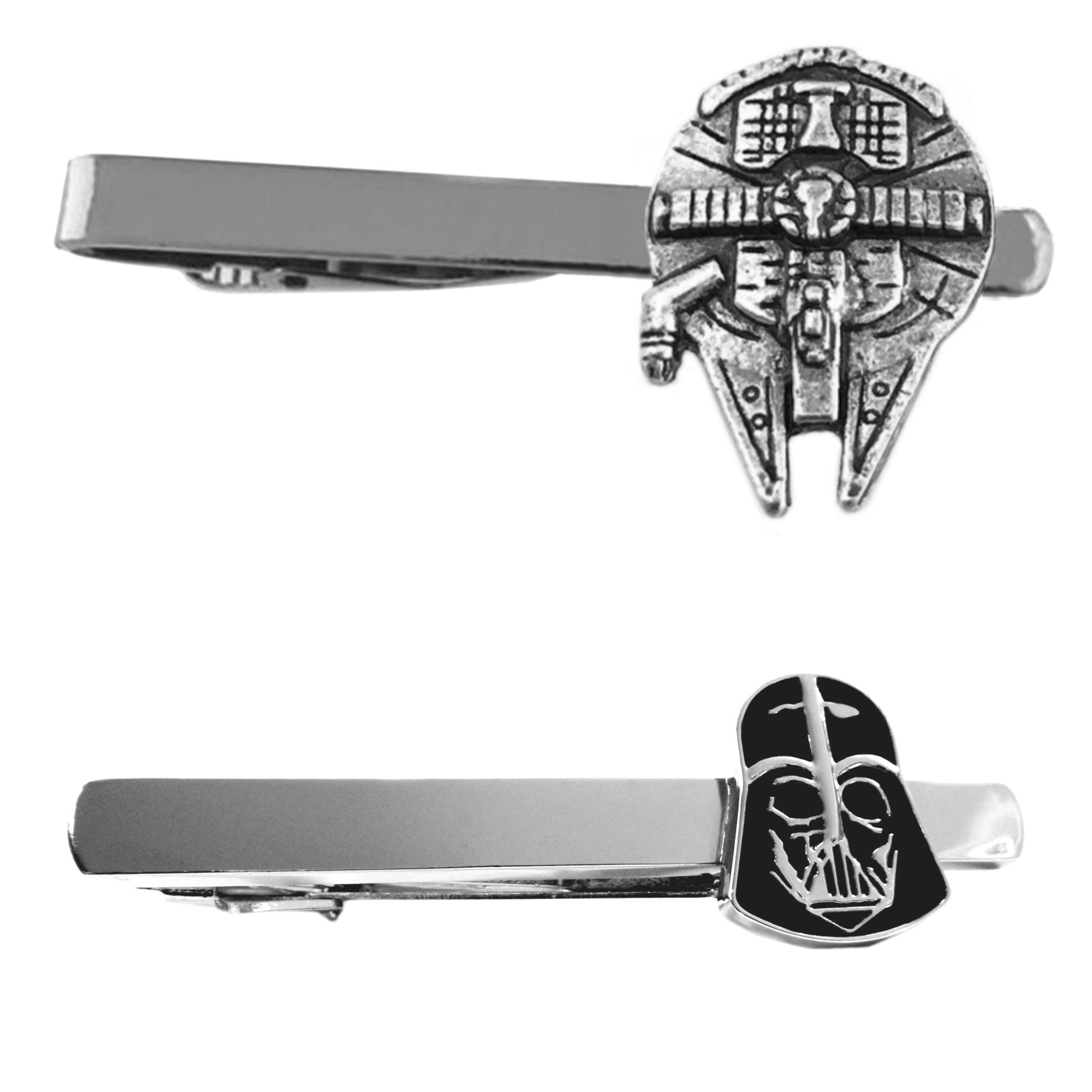 Outlander Star Wars - Millenium Falcon & Darth Vader - Tiebar Tie Clasp Set of 2 Wedding Superhero Logo w/Gift Box