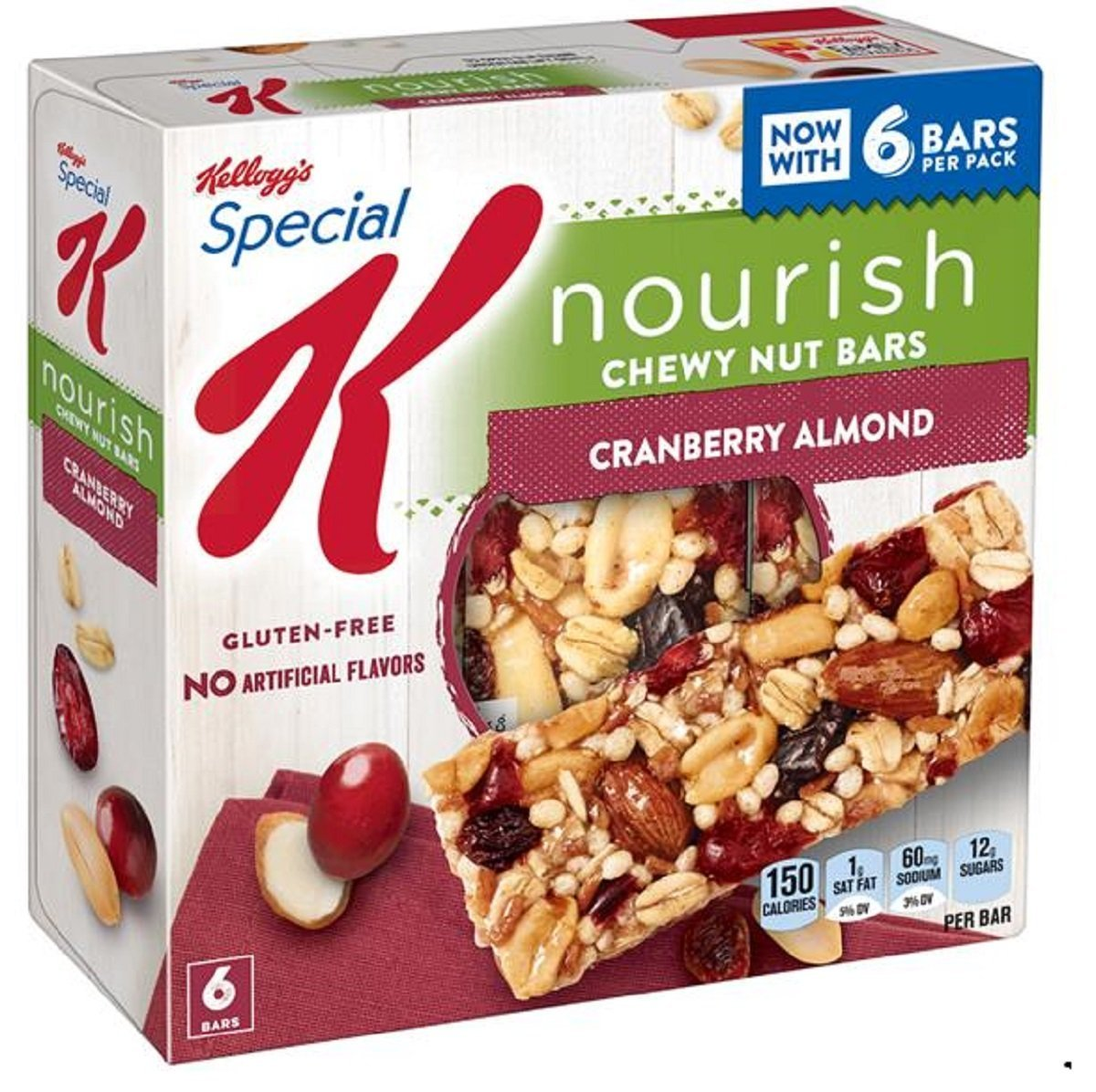 Nourish Cranberry Almond Chewy Nut Bars (4 Boxes) Kellogg's Special K