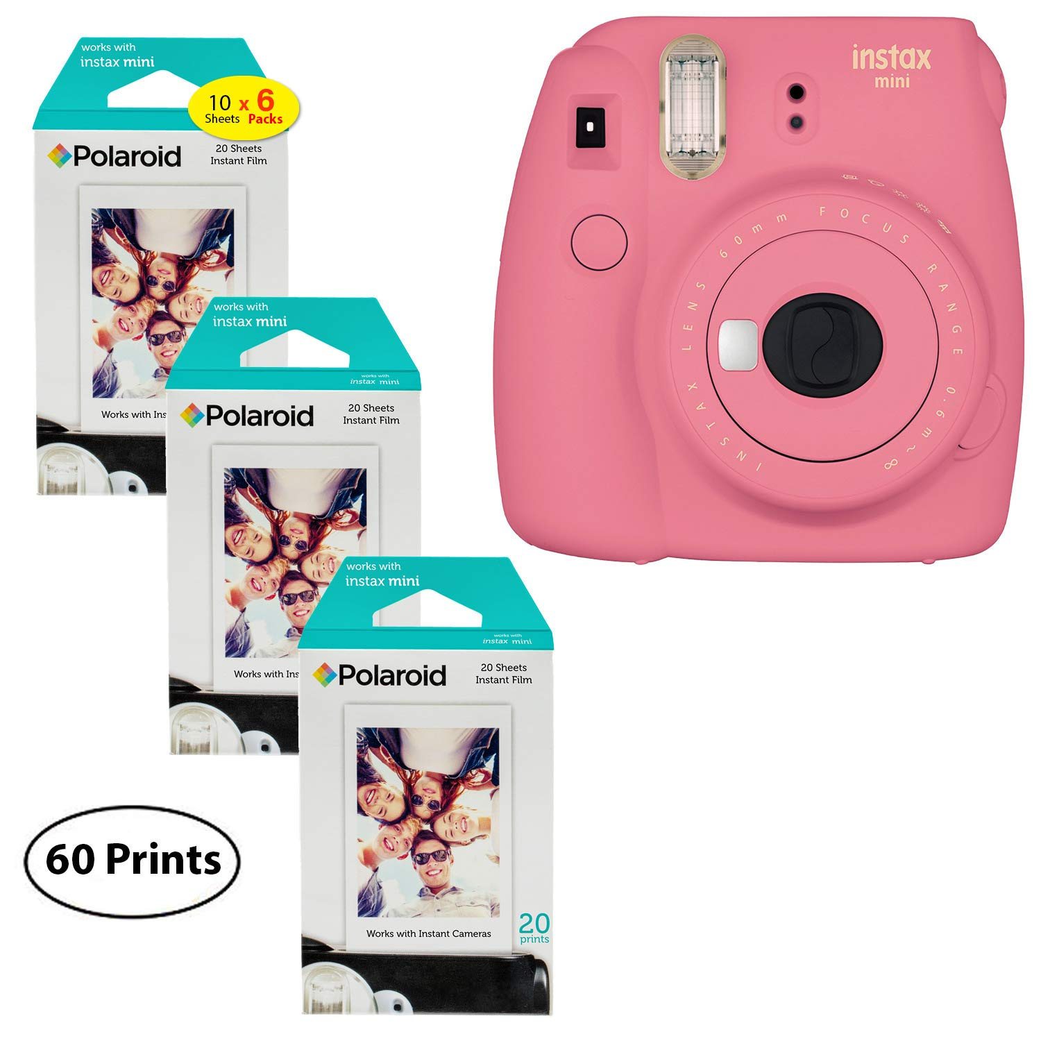 Fujifilm Instax Mini 9 Instant Camera (Flamingo Pink), 3x Twin Pack Instant Film (60 Sheets) Bundle