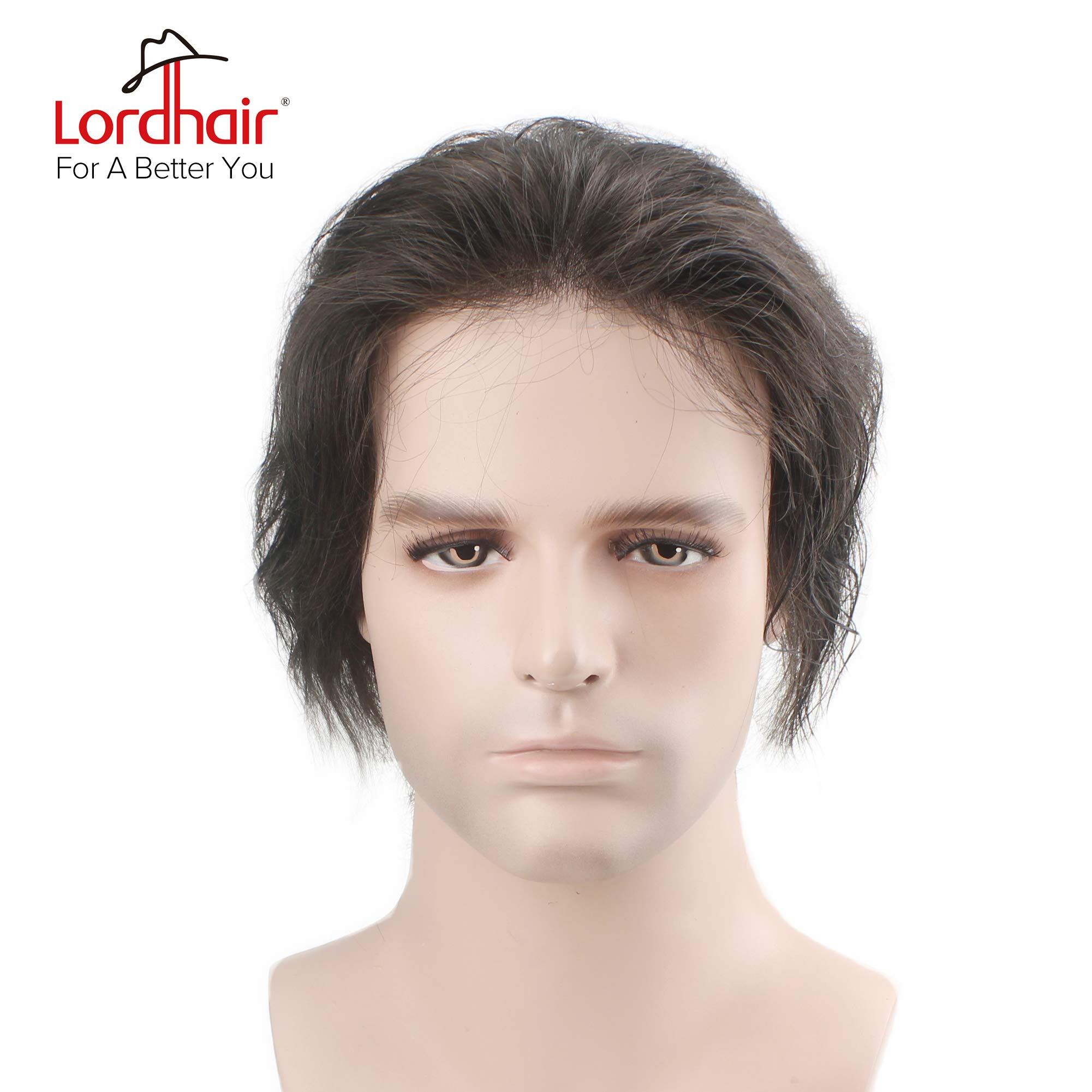 Lordhair Ultra Thin Skin Men's Toupee Hair Replacement Color #1B Toupee For Men