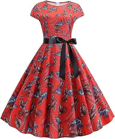 Auifor Floral impresión de la Moda Cuello Redondo Vestido Retro de ...