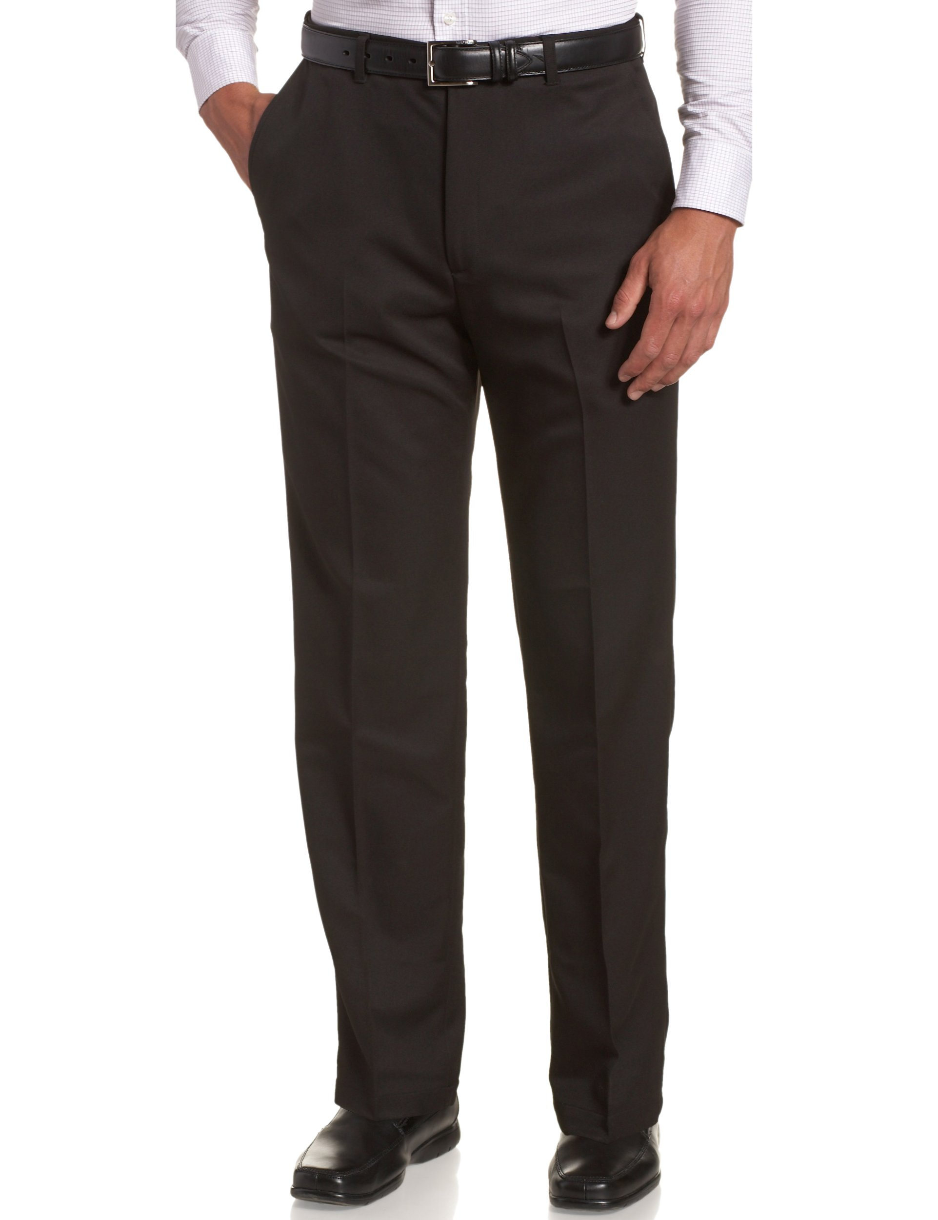 Haggar Men's Cool 18 Hidden Comfort Waist Plain Front Pant,Black,34x32