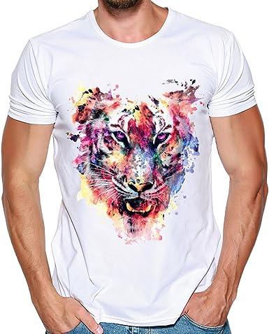 PARVAL Camiseta de Manga Corta para Hombre con Estampado de ...