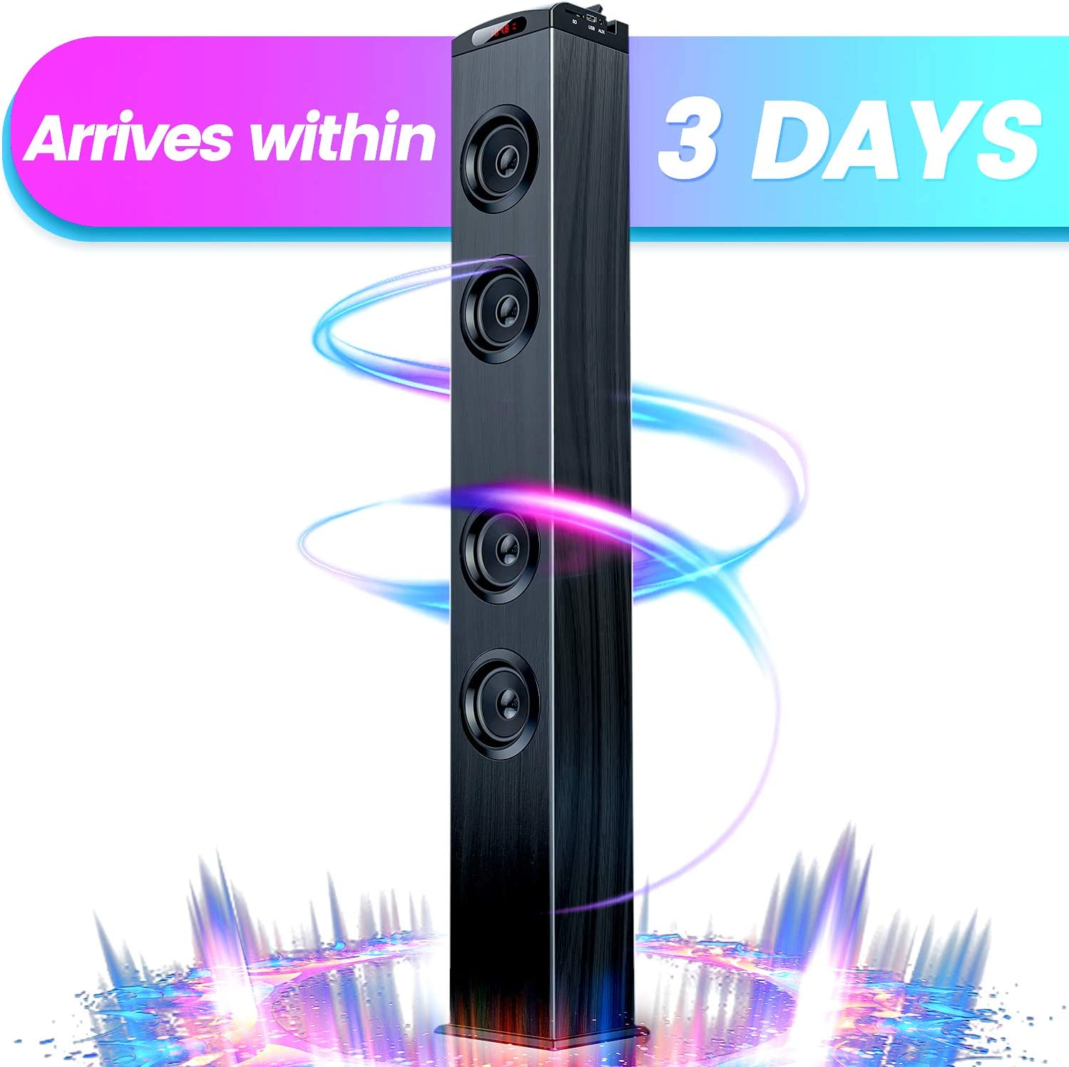 Floor Standing Bluetooth Tower Speaker, Floor Speakers for Home Stero System, Floor Standing Speakers Home Theater, VENLOIC Bluetooth Tower Speakers with Bass