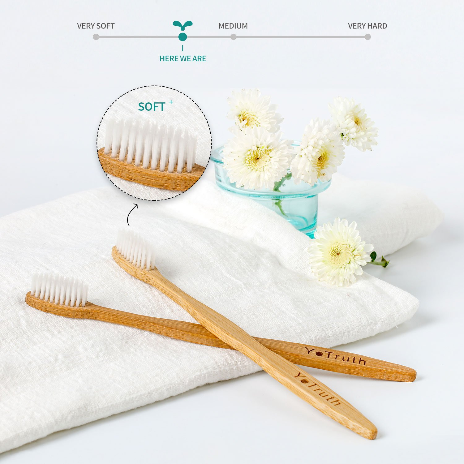 Yotruth Bamboo Toothbrush Set Natural Eco Friendly Bamboo Toothbrush Four Sets of Each box