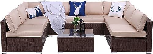 Green4ever Outdoor Patio 9 Piece Rattan Furniture Set Conversation Sofa Sets