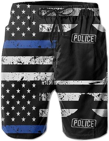 Thin Blue Line Flag Womens Printing Boardshorts Sports Runnning Beachwear with Pockets