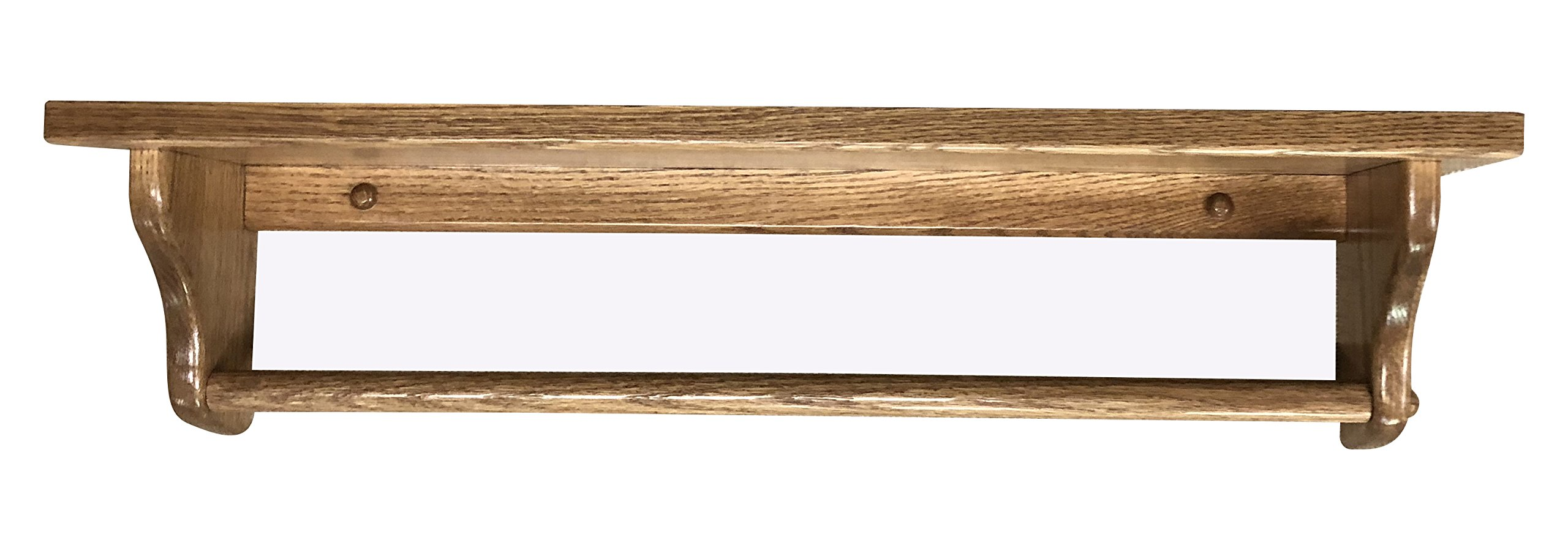 Towel Bar Shelf 18'' Solid Oak Wood - Pick Your Own Stain