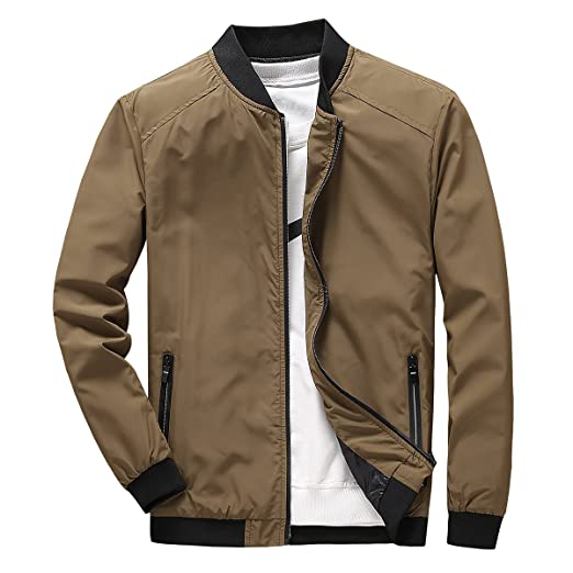 0c0e9e0e8 PrettyChic Men's Bomber Jacket Casual Light Slim Fit Full Zip Bike  Outerwear Windbreaker